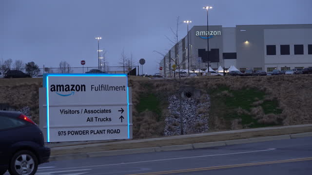 exterior of amazon fulfillment center in bessemer as facility faces unionization effort. vote opens on february 8 and closes on march 29. in... - labor union stock videos & royalty-free footage