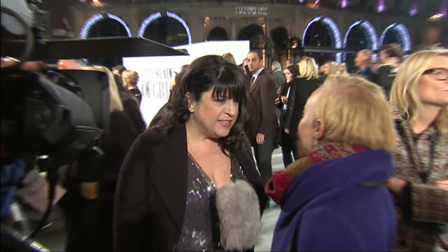 Exterior of author EL James talking to reporter on red carpet at Fifty Shades of Grey premiere on February 12 2015 in London England
