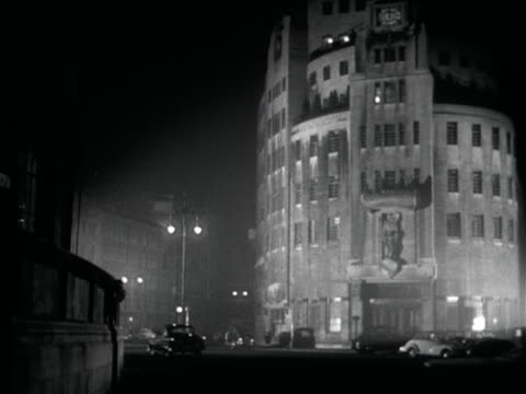 exterior of bbc broadcasting house at night - broadcasting stock videos and b-roll footage