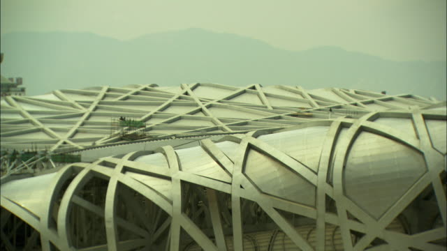 cu r/f exterior of beijing national stadium, beijing, china - bird's nest stock videos & royalty-free footage