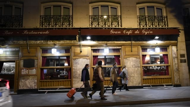 exterior of cafe gijon which is part of the association of century-old restaurants and taverns, which has been created by a total of twelve... - addition key stock videos & royalty-free footage