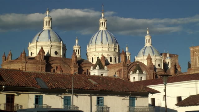 cu zo ws exterior of cathedral of the immaculate conception / cuenca, cuenca province, ecuador - ecuador stock videos & royalty-free footage