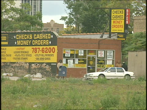 exterior of check cashing store in chicago - 1996 stock videos & royalty-free footage