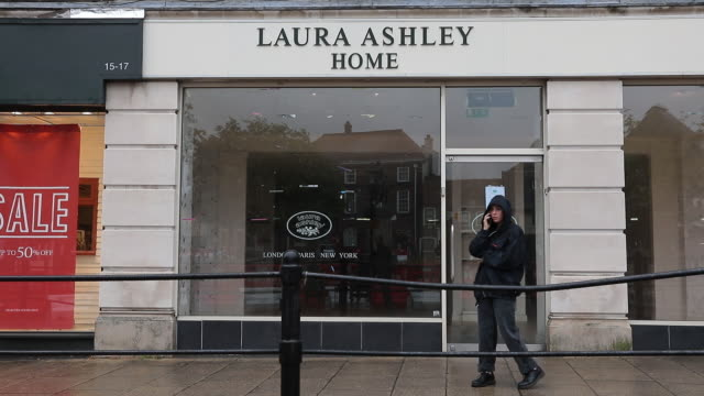 exterior of closed laura ashley store in aldershot, petersfield, uk on monday, august 25, 2020. as britain enters a period of deep recession, with... - {{asset.href}} stock-videos und b-roll-filmmaterial
