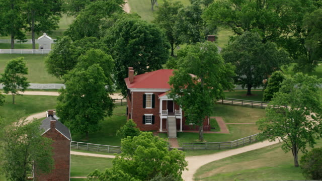 WS AERIAL POV Exterior of courthouse at Appomattox Court House National Historical Park / Appomattox, Virginia, United States