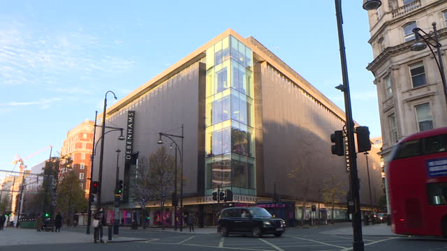 exterior of debenhams flagship department store on london's oxford street, the business has gone into administration - clothes shop stock videos & royalty-free footage