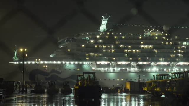 exterior of diamond princess cruise ship where passengers and crew are quarantined due to the coronavirus outbreak, yokohama, japan - cruising stock videos & royalty-free footage