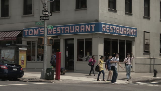 exterior of diner featured in 'seinfeld' - television show stock videos & royalty-free footage