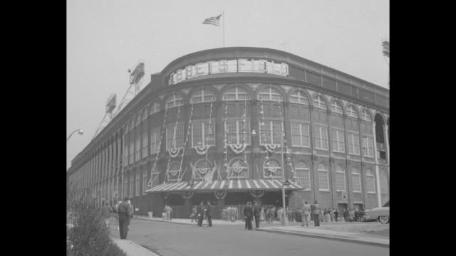 exterior of ebbets field with sign / tighter exterior of same / note exact day not known - ebbets field video stock e b–roll
