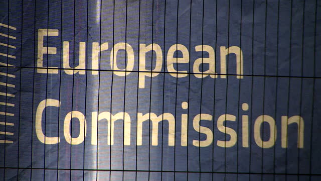 """exterior of european commission at night, as post brexit trade talks continue between uk and eu - """"bbc news"""" stock videos & royalty-free footage"""