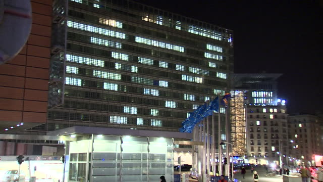 Exterior of European Commission at night Brussels