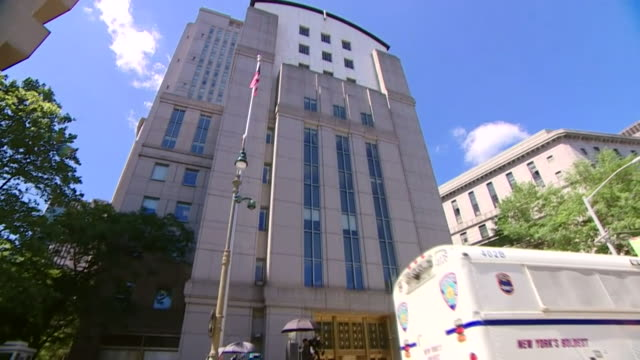 exterior of federal court in new york where ghislaine maxwell's bail hearing took place - ghislaine maxwell stock videos & royalty-free footage