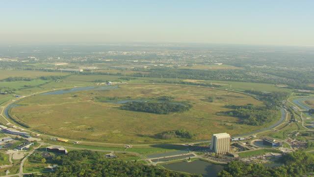 WS AERIAL POV Exterior of Fermi National Accelerator Laboratory in city / Batavia, DuPage County, Illinois, United States