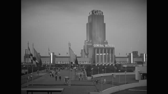 ws exterior of general motors building athe the 1933 chicago world's fair / united states - general motors stock videos & royalty-free footage
