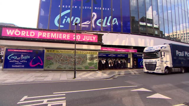 """exterior of gillian lane theatre, in the west end, hosting production of cinderella, that had to cancel opening performances due to coronavirus self... - """"bbc news"""" stock videos & royalty-free footage"""