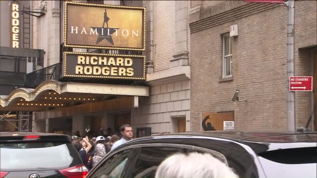 wpix exterior of 'hamilton' at richard rodgers theatre - broadway stock videos & royalty-free footage