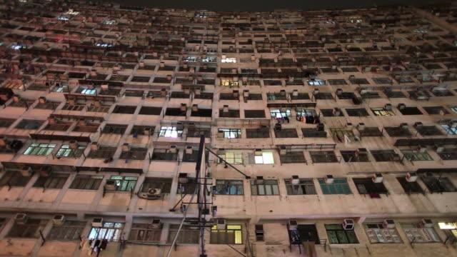 stockvideo's en b-roll-footage met ws la pan exterior of high-rise apartment building / hong kong, china - gevel