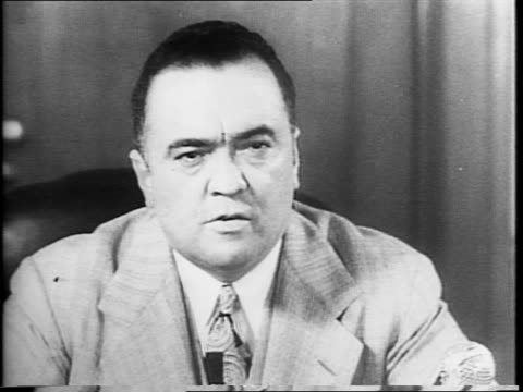 exterior of j edgar hoover's fbi office / close-up of j edgar hoover asking viewers to report spies. - sabotage stock videos & royalty-free footage