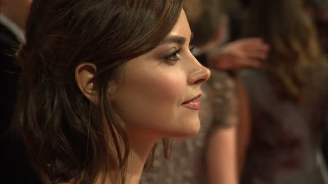 Exterior of Jenna Coleman on the red carpet at the BAFTA awards on February 08 2015 in London England