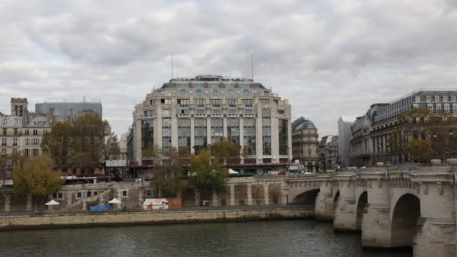 exterior of la samaritaine department store across seine river, paris, france, on tuesday, nov 19, 2019. - department store stock videos & royalty-free footage
