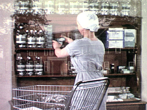 / exterior of large, brick hospital building / nurse organizes supplies on wooden shelf / empty surgical-operation rooms on january 01, 1955 - 1955 stock videos & royalty-free footage