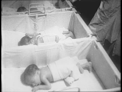 exterior of louisville hospital / montage of quadruplets in germproof suite attended by nurse - 生後1ヶ月点の映像素材/bロール