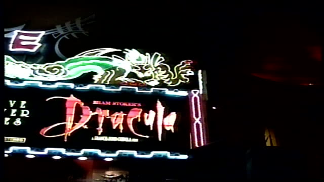 exterior of mann's chinese theater during dracula premiere - 1992 stock videos & royalty-free footage