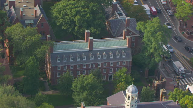 WS AERIAL POV Exterior of Massachusetts Hall / Cambridge, Massachusetts, United States