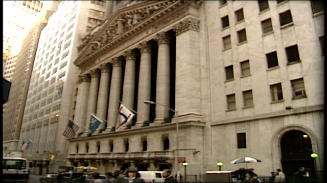 exterior of new york stock exchange and intersection - wall street lower manhattan stock videos & royalty-free footage