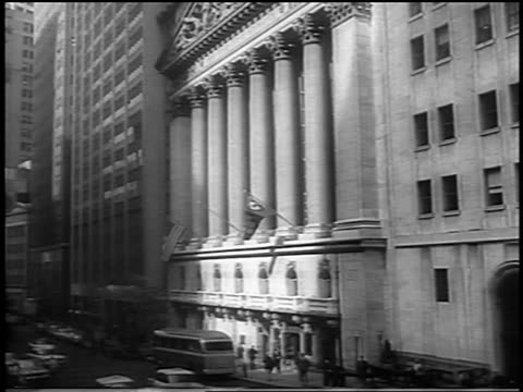 b/w 1962 exterior of new york stock exchange building / newsreel - newsreel stock videos and b-roll footage