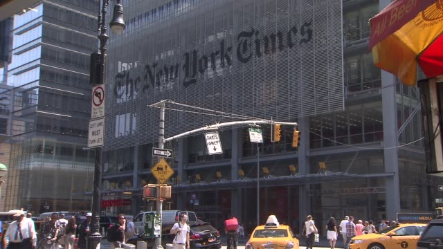 exterior of new york times building on june 07 2013 in new york new york - ニューヨークタイムズ点の映像素材/bロール