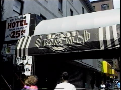 exterior of nyc's trash and vaudeville and st mark's hotel - punk music stock videos & royalty-free footage
