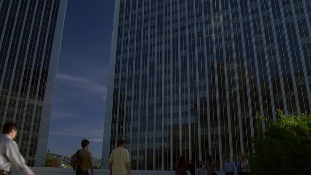 ms tu exterior of office block building / century city, california, usa - century city stock videos & royalty-free footage