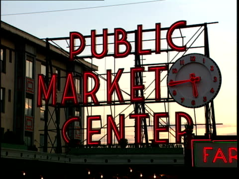 exterior of pike's place public market in seattle - pike place market stock videos and b-roll footage