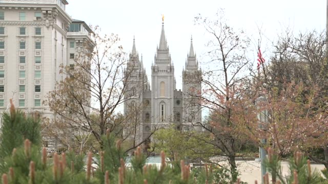 exterior of salt lake city mormon temple on november 14, 2015. - mormonism stock videos & royalty-free footage