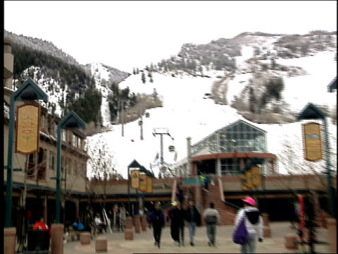 exterior of ski resort and lifts in aspen - ski holiday stock videos & royalty-free footage