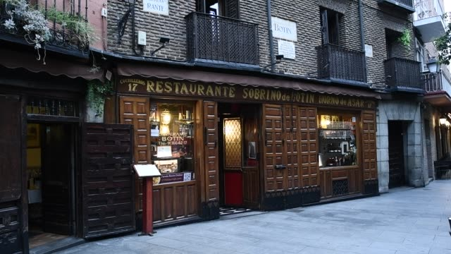 exterior of sobrino de botin which is part of the association of century-old restaurants and taverns, which has been created by a total of twelve... - bar drink establishment stock videos & royalty-free footage