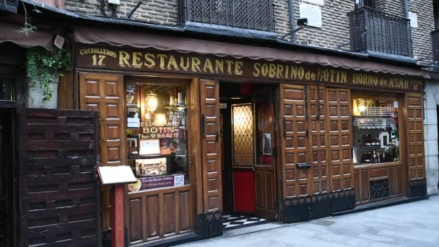 exterior of sobrino de botin which is part of the association of centuryold restaurants and taverns which has been created by a total of twelve... - bar drink establishment stock videos & royalty-free footage