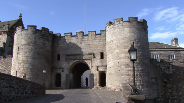 PAN Exterior of Stirling Castle showing entrance and main hall / Stirling, Scotland, United Kingdom