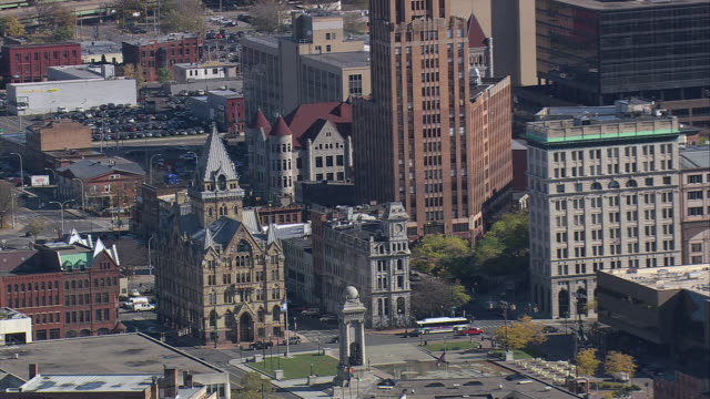 aerial exterior of syracuse savings bank building and surrounding buildings downtown / syracuse, new york, united states - syracuse stock videos & royalty-free footage