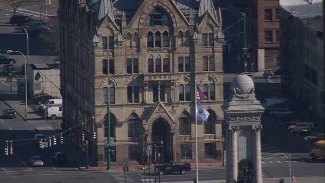 aerial exterior of syracuse savings bank building new york, united states - syracuse stock videos & royalty-free footage