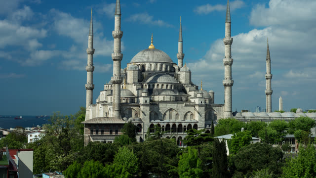 t/l exterior of the blue mosque in istanbul, turkey - blue mosque stock videos and b-roll footage