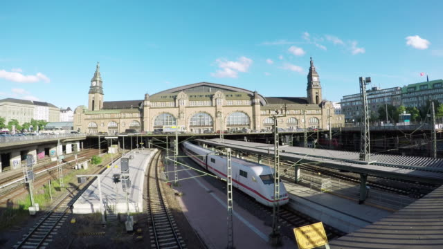 Exterior of the central station (Hauptbahnhoff) in Hamburg, Germany.