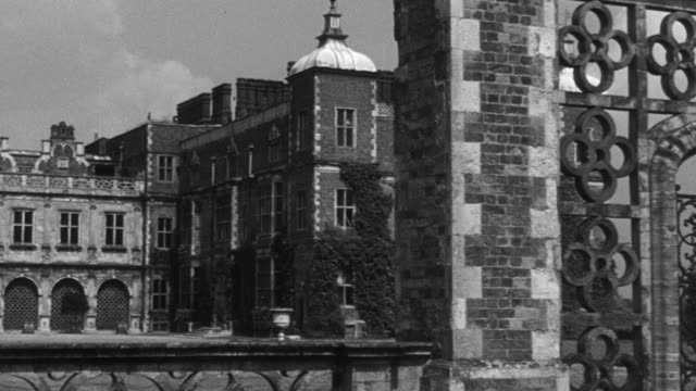 1946 montage exterior of the classical and medieval hatfield house / hertfordshire, england, united kingdom - hatfield stock videos and b-roll footage