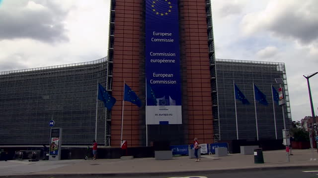 """exterior of the eu european commission, brussels - """"bbc news"""" stock videos & royalty-free footage"""