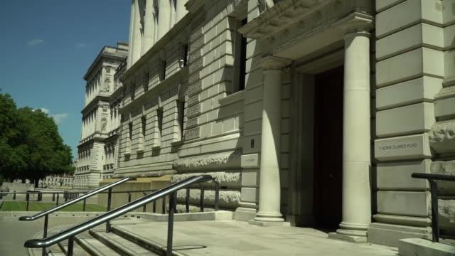 exterior of the hm treasury building - politics stock videos & royalty-free footage