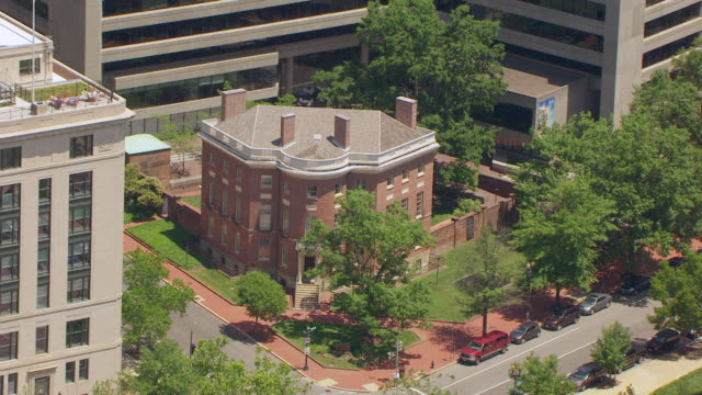 ws aerial pov exterior of the octagon house / washington dc, united states - octagon stock videos and b-roll footage