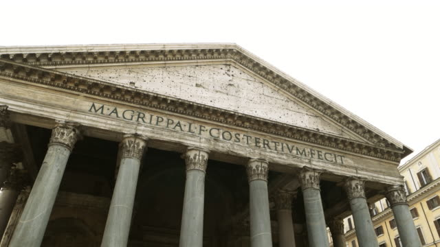 exterior of the pantheon pediment with pillars - pantheon rome stock videos and b-roll footage