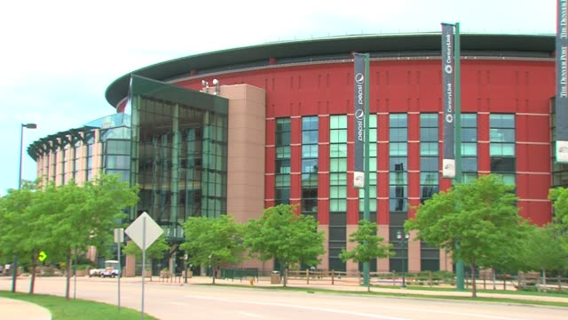 Exterior of the Pepsi Center during summer in Denver Colorado where professional sports teams like the Colorado Avalanche hockey team and the Denver...
