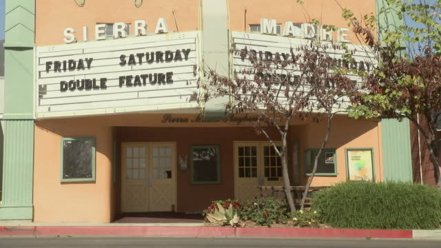 ms exterior of the sierra madre playhouse / sierra madre, california, united states - sierra madre stock videos & royalty-free footage